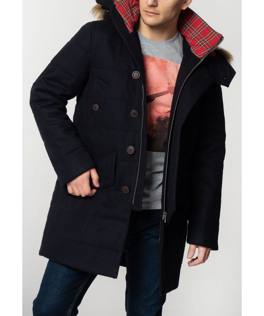Image for Raleigh Mens Padded Wool Parka With Fur Hood In Dark Navy