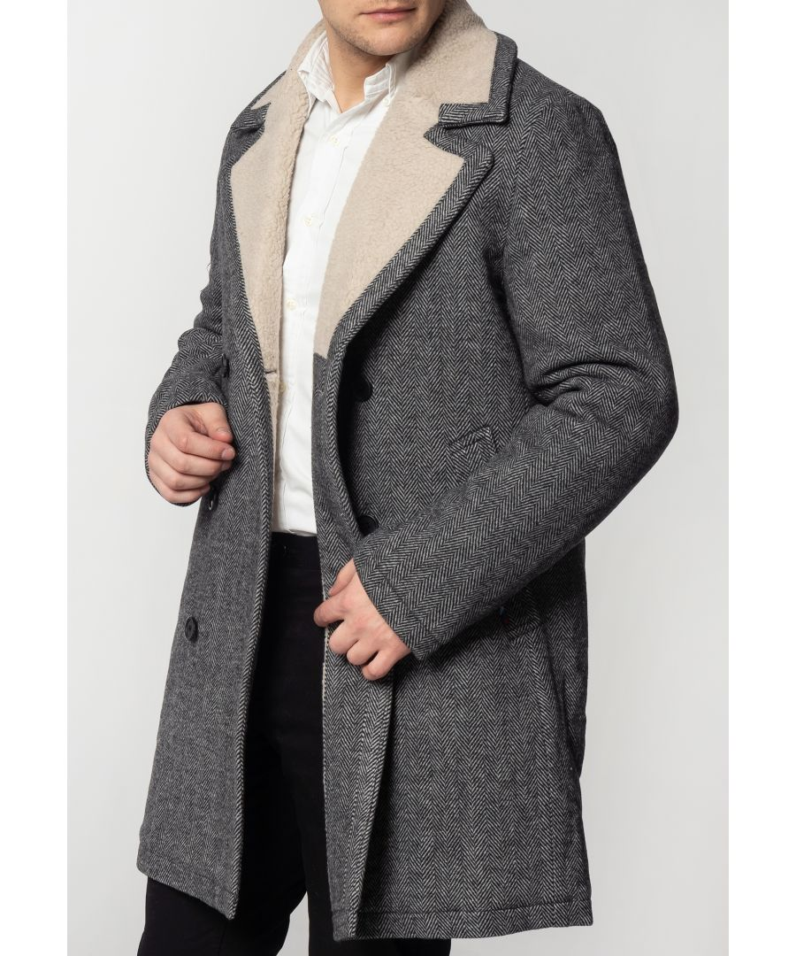 Image for Fraser Mens Tweed Overcoat With Borg Lining In Dark Grey