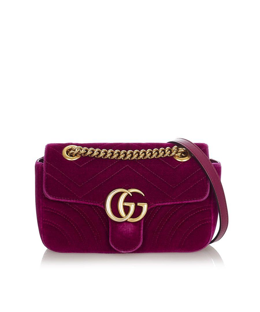 Image for Vintage Gucci Mini GG Marmont Matelasse Velvet Crossbody Bag Purple