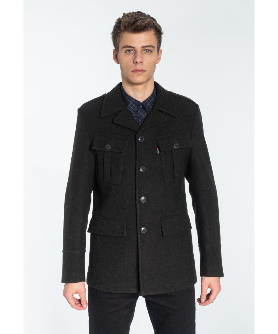 Image for HAWORTH, Men's Wool Field Coat in Marl Khaki