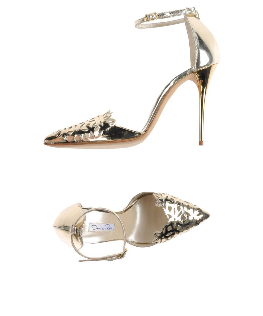 Image for Oscar De La Renta Platinum Leather Heels