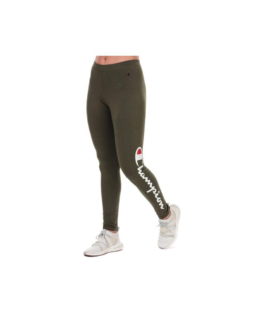 Image for Women's Champion Large Script Logo Training Leggings in Green