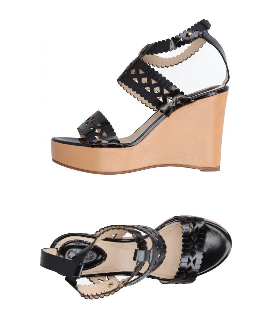 Image for Chloé Black Polished Calf Leather Wedges