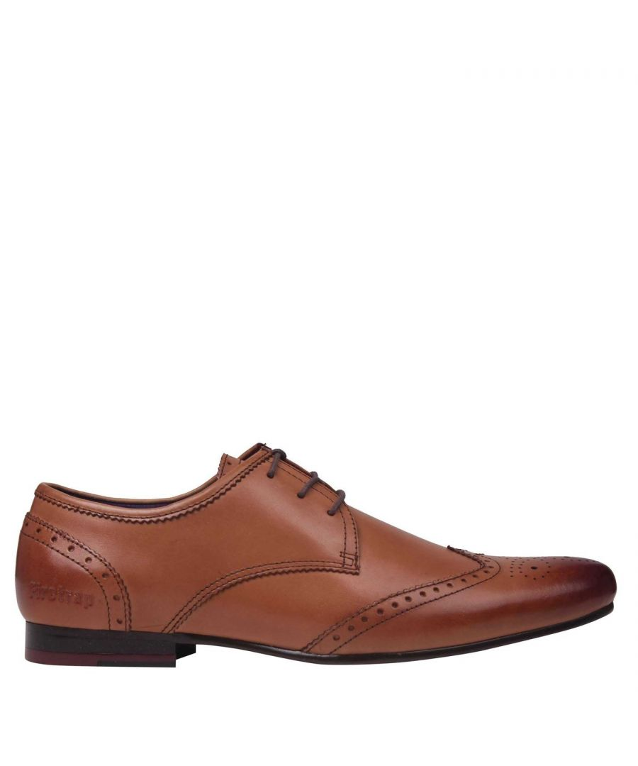 Image for Firetrap Mens Beaufort Lace Up Brogue Style Slight Heel Smart Formal Shoes