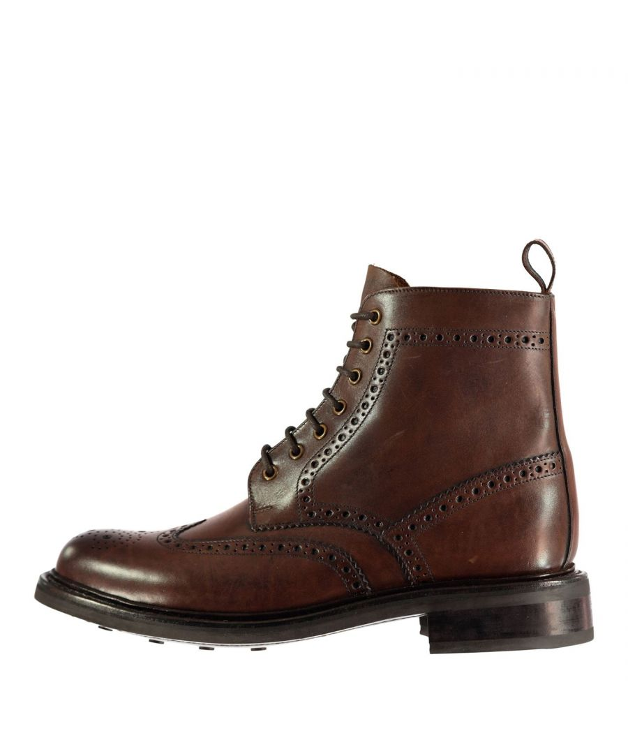 Image for Firetrap Mens Blackseal Arnold Boots 100% Leather Shoes Tonal Stitching Casual