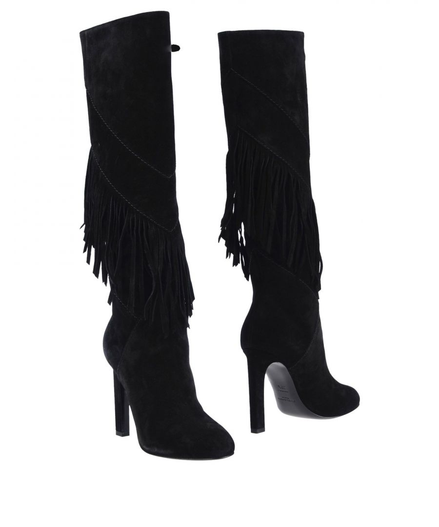 Image for Saint Laurent Black Leather Fringed Knee High Boots