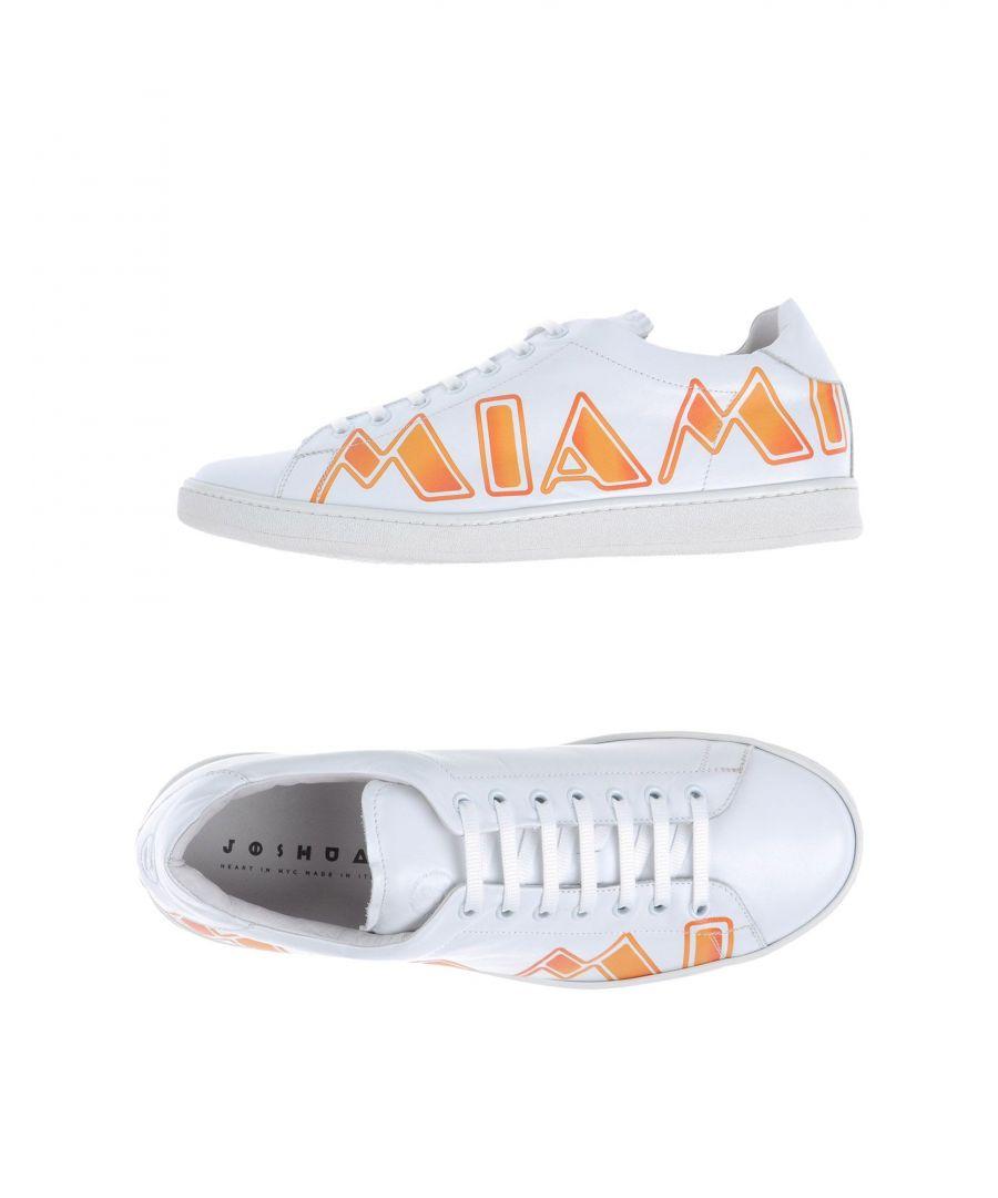 Image for Joshua*S White Leather Miami Print Sneakers