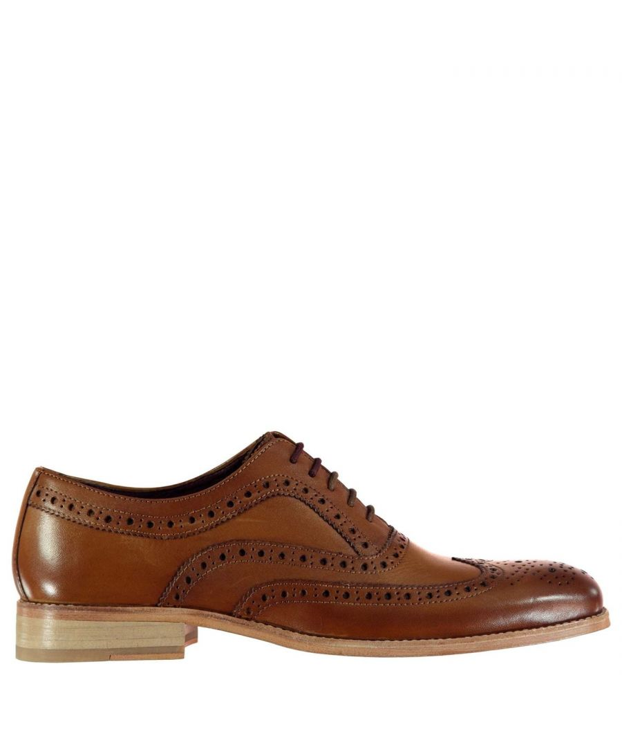 Image for Firetrap Men Blackseal Somerset Brogues Lace Up Shoes Leather Upper Casual