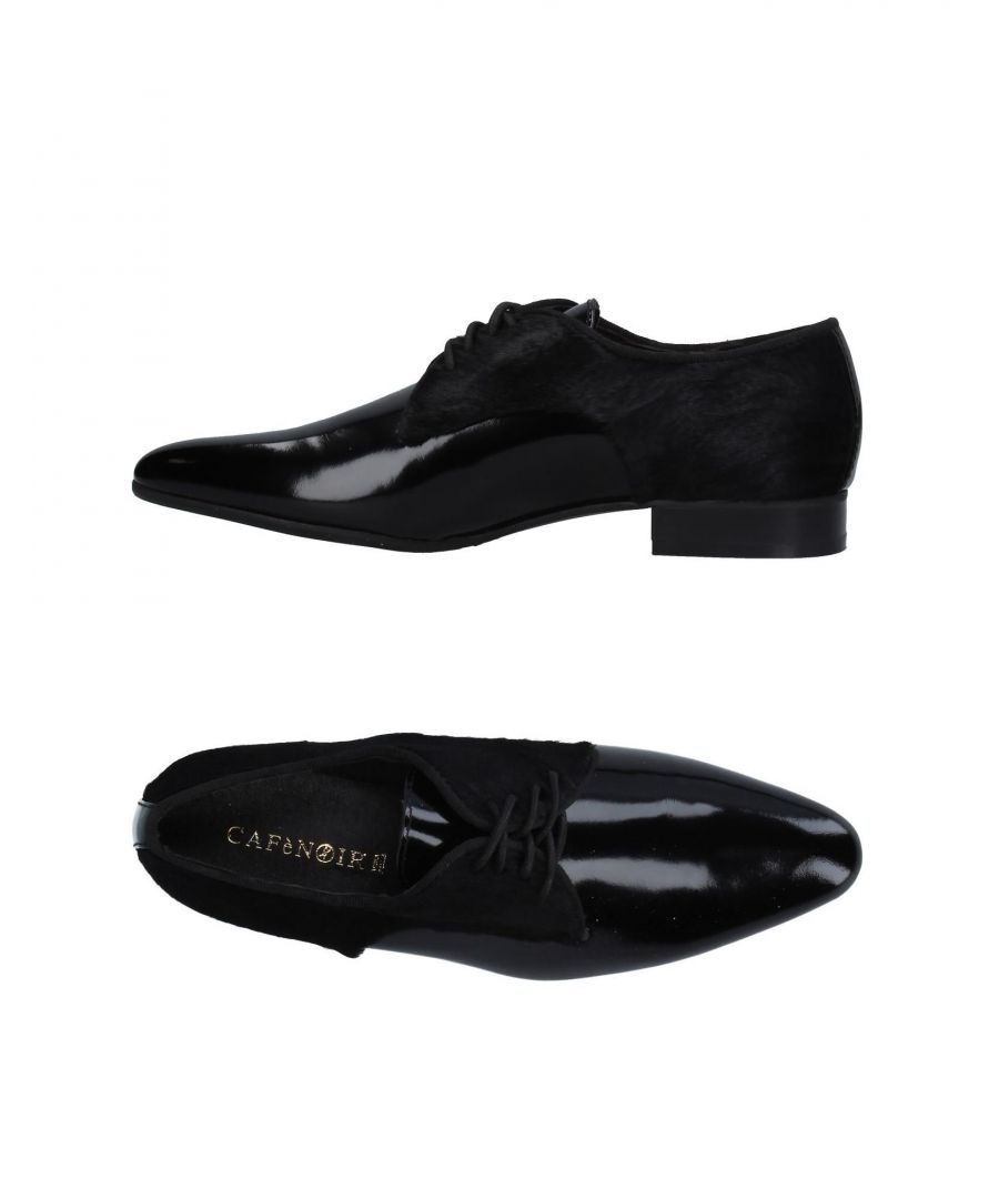 Image for Cafenoir Black Leather Flat Lace Up Shoes