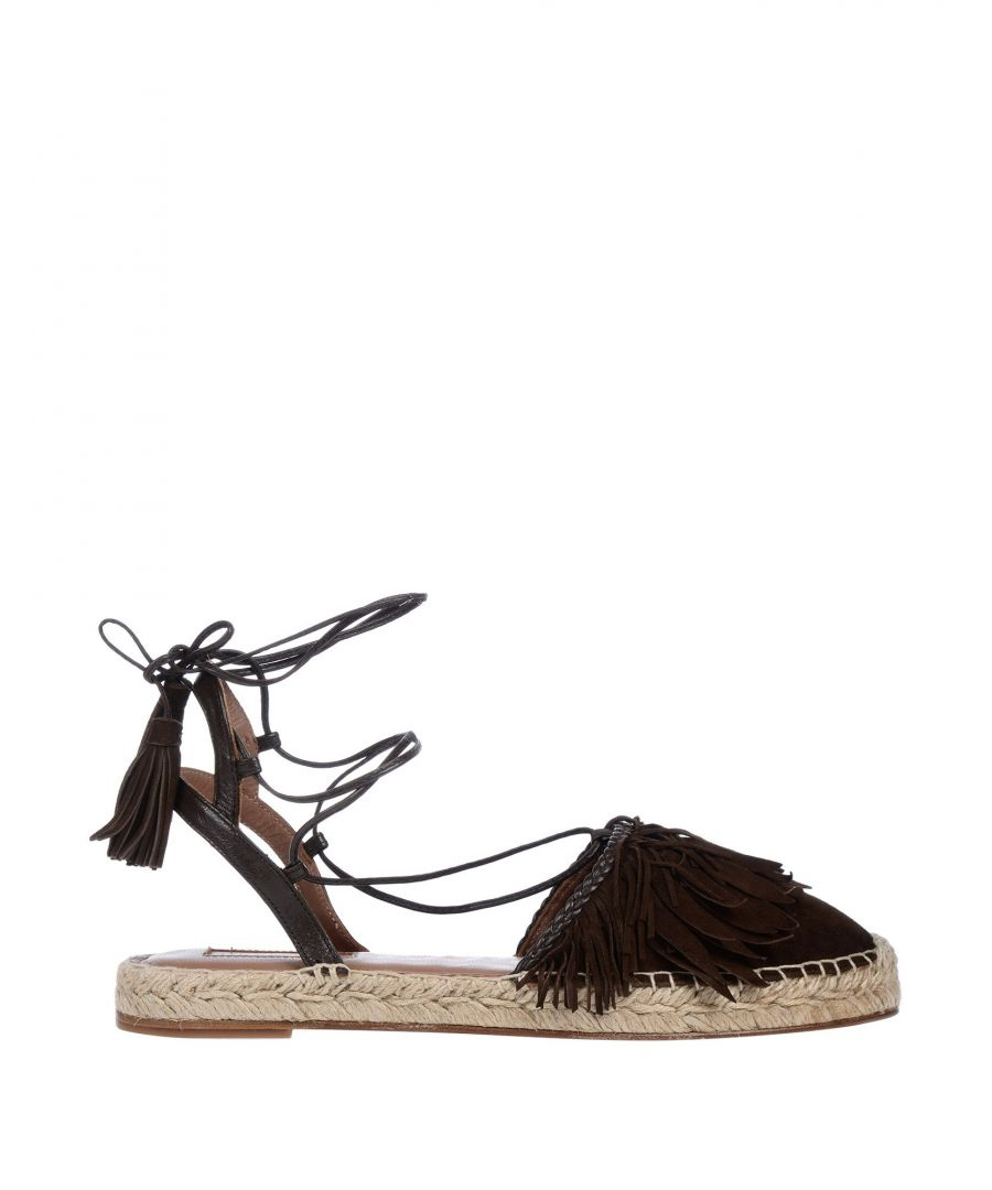 Image for Aquazzura Dark Brown Leather Espadrilles