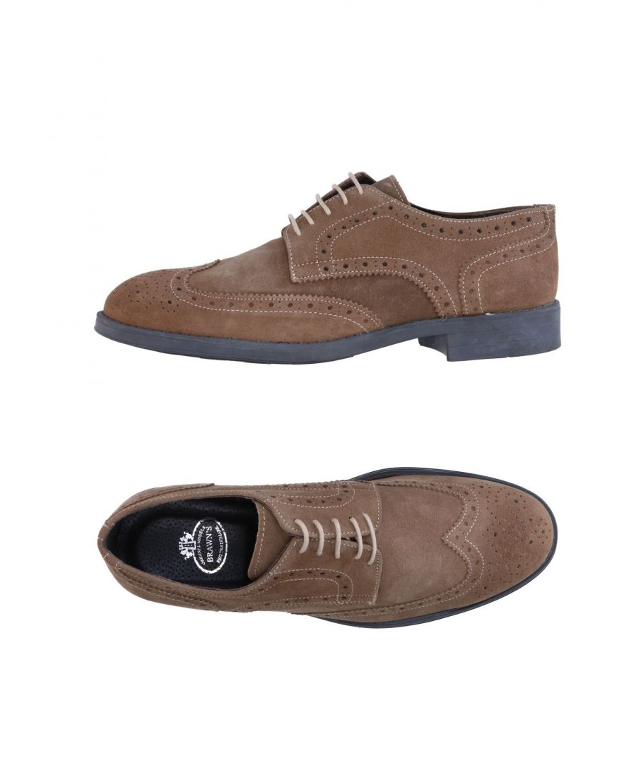 Image for Brawn's Khaki Leather Lace Up Shoes