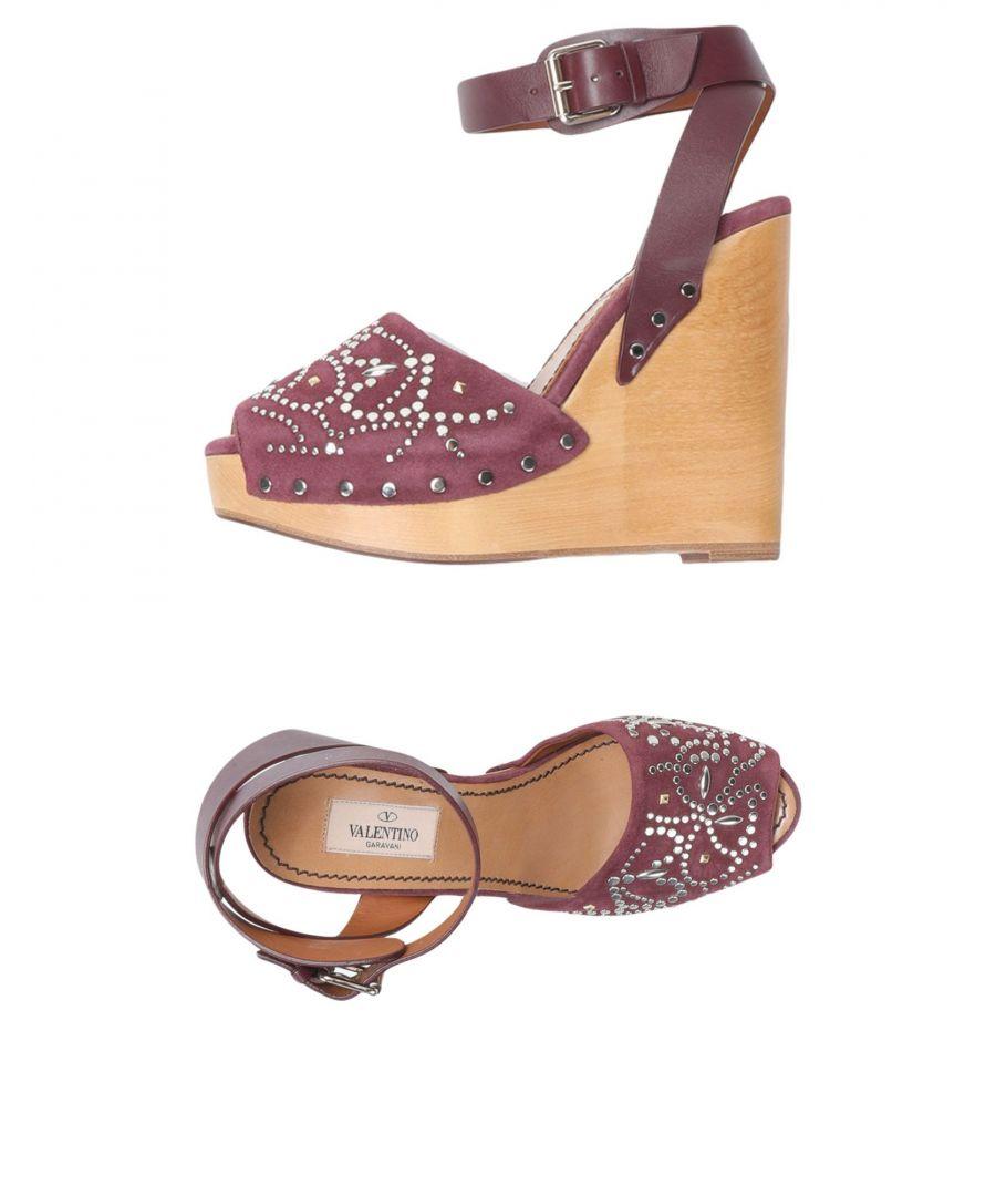 Image for Valentino Garavani Purple Leather Wedge Heels
