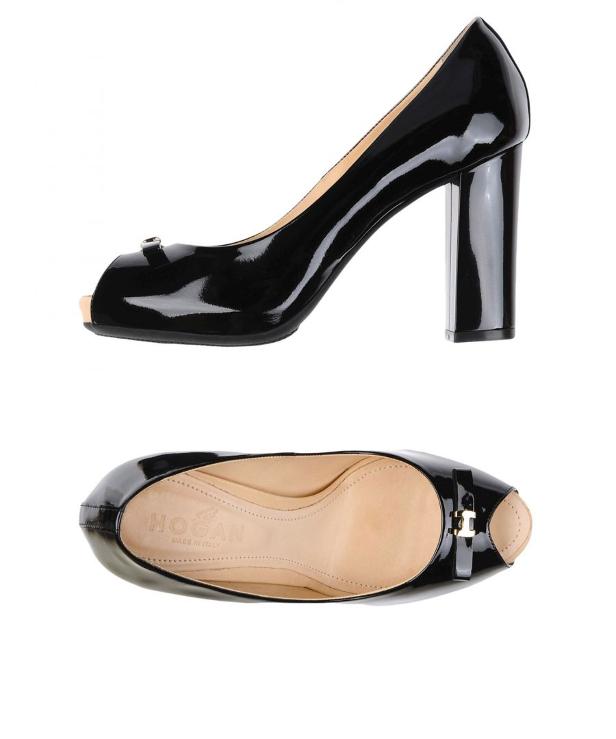 Image for Hogan Black Leather Peeptoe Heels