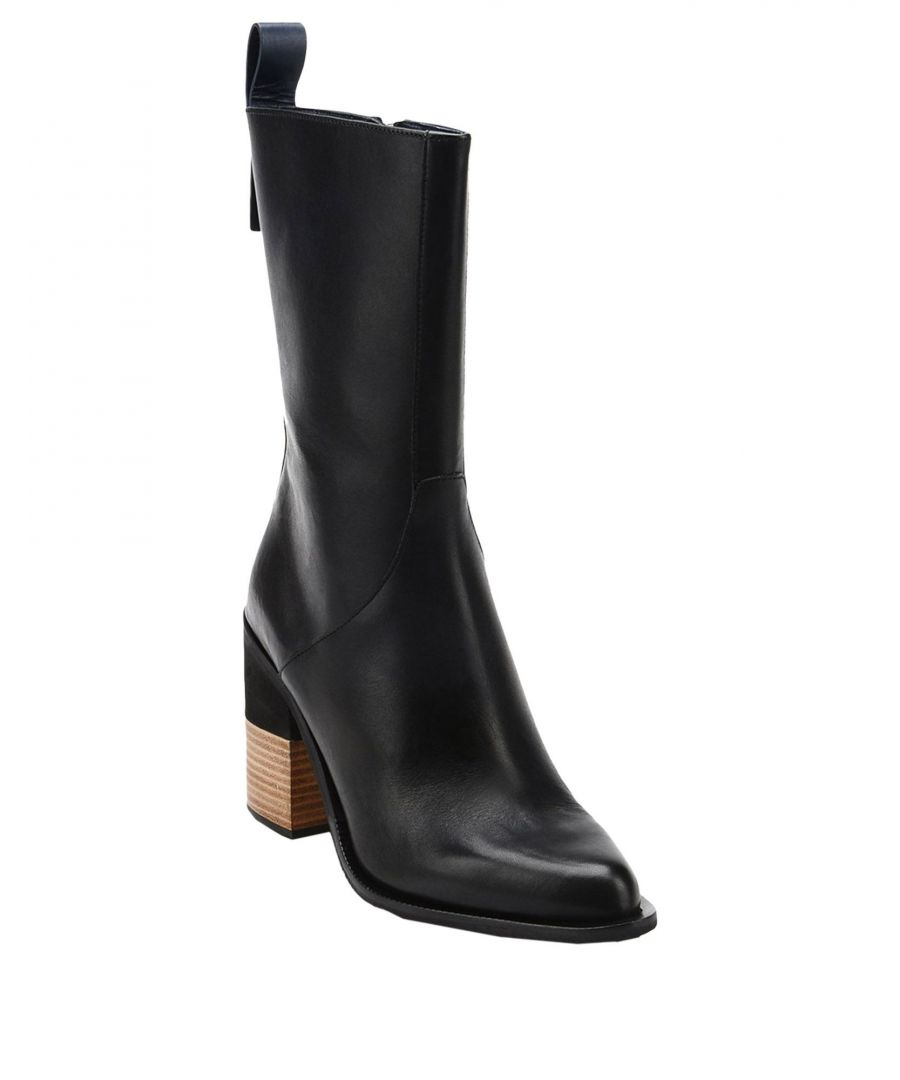 Image for Jil Sander Navy Black Leather Ankle Boots