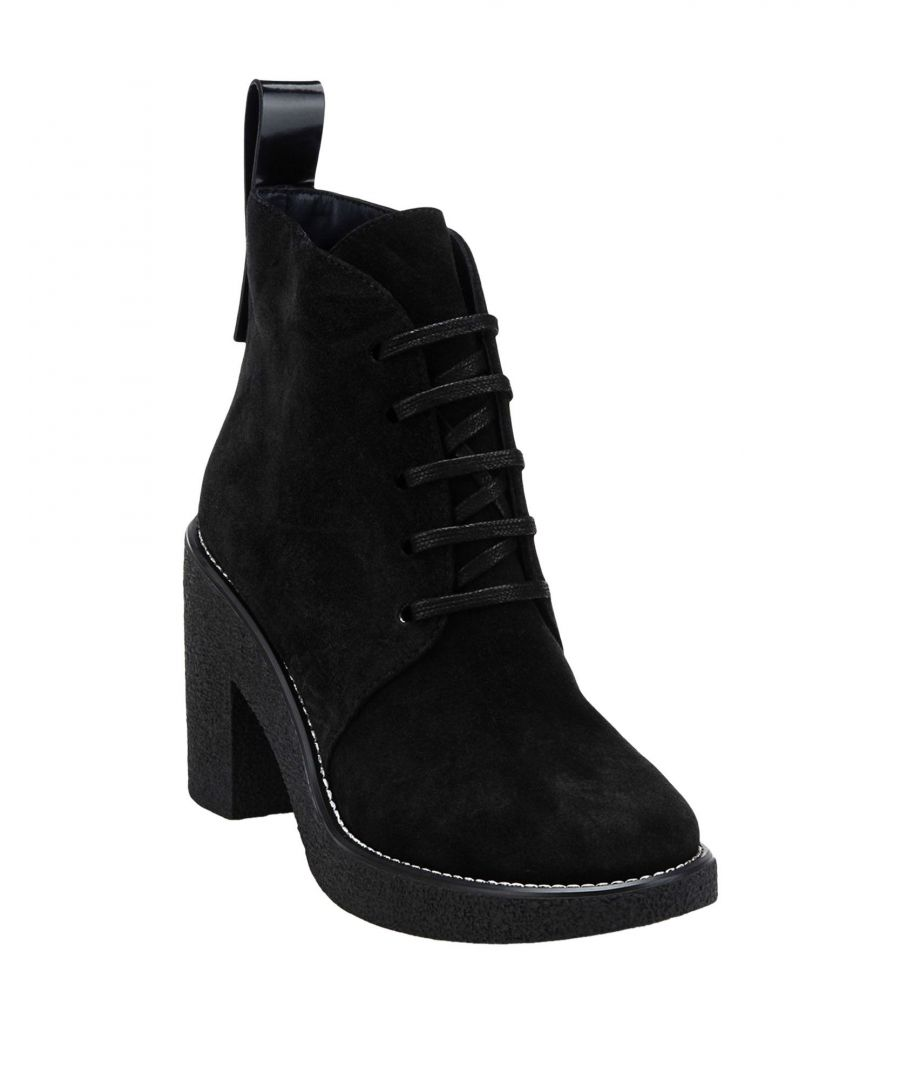 Image for Jil Sander Navy Black Calf Leather Lace Up Ankle Boots