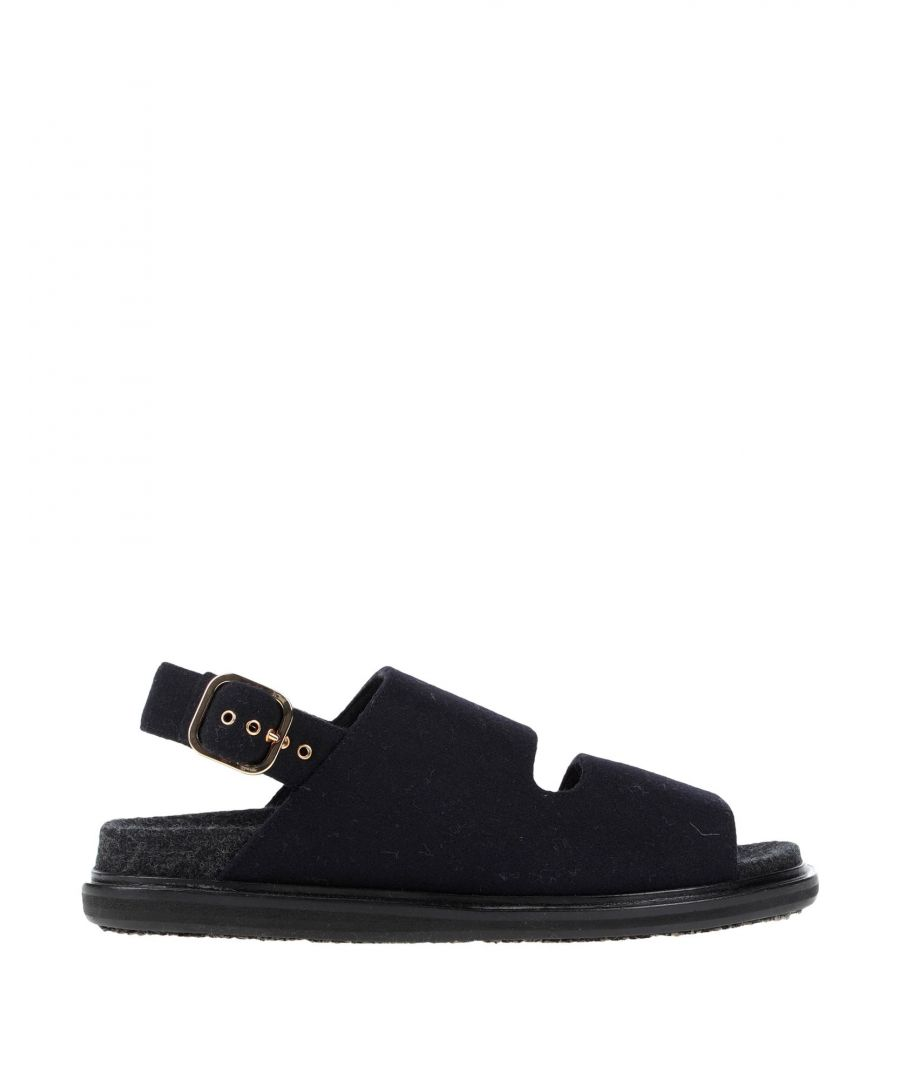 Image for Marni Dark Blue Leather Flat Sandals