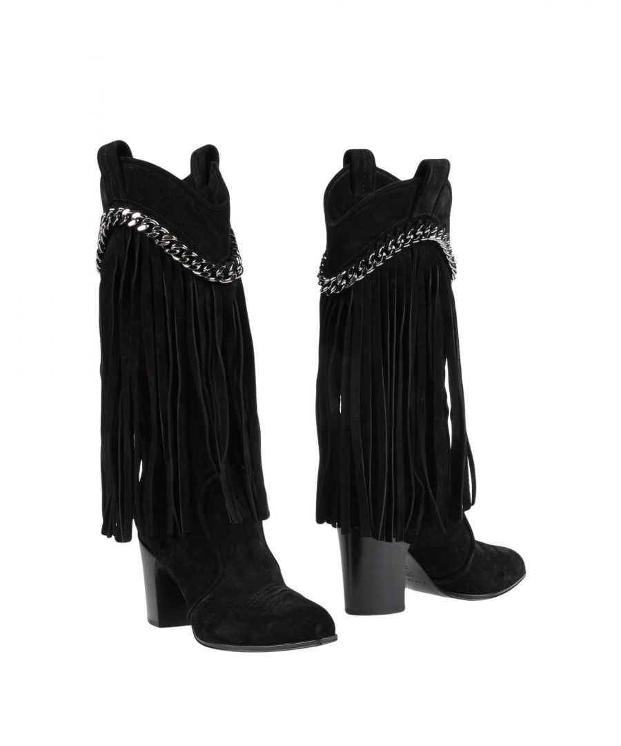 Image for Casadei Black Leather Fringed Boots