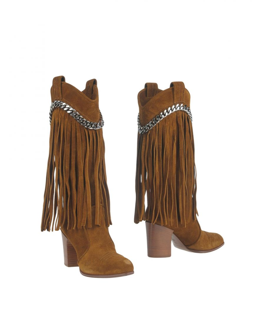 Image for Casadei Camel Leather Fringed Boots