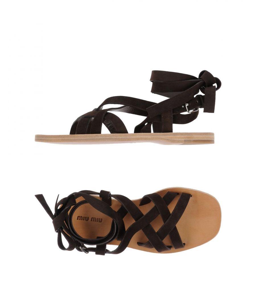 Image for Miu Miu Dark Brown Leather Sandals