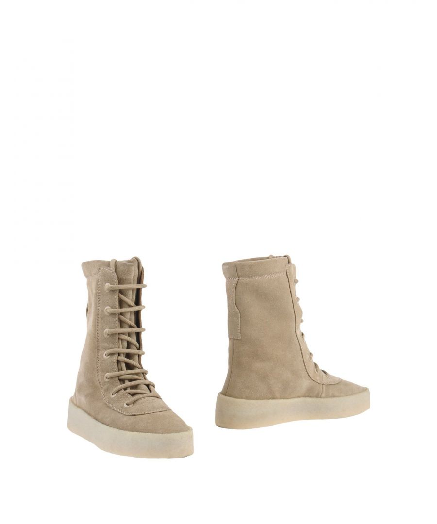 Image for Yeezy Beige Leather Lace Up Boots