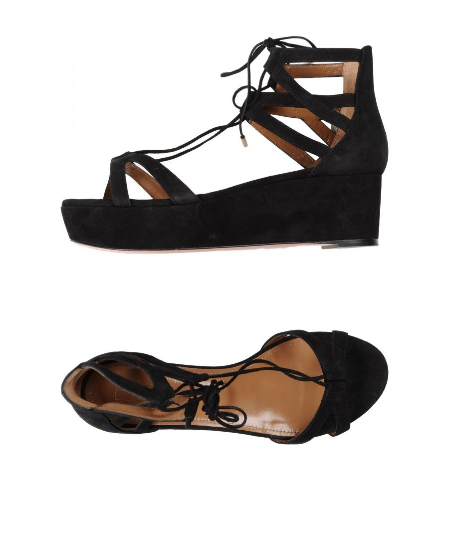 Image for Aquazzura Black Leather Flatform Sandals