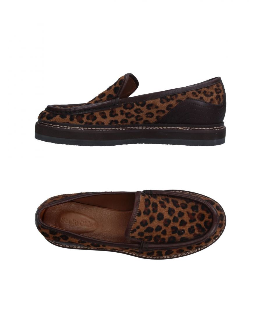 Image for See By Chloe Brown Print Leather Loafers