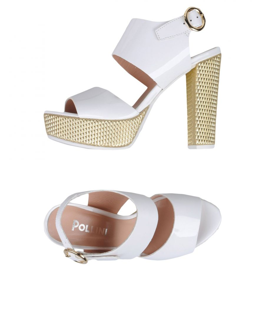 Image for Pollini White Faux Leather Heeled Sandals
