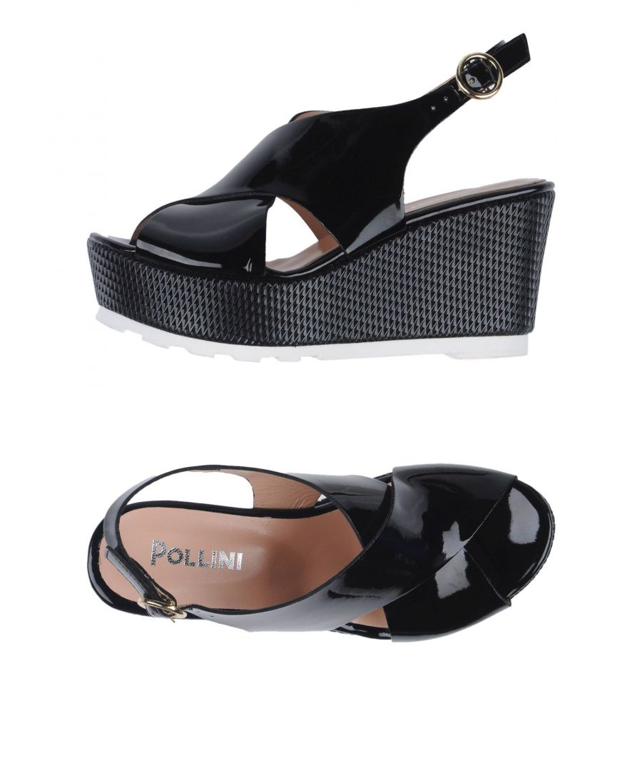 Image for Pollini Black Wedge Sandals