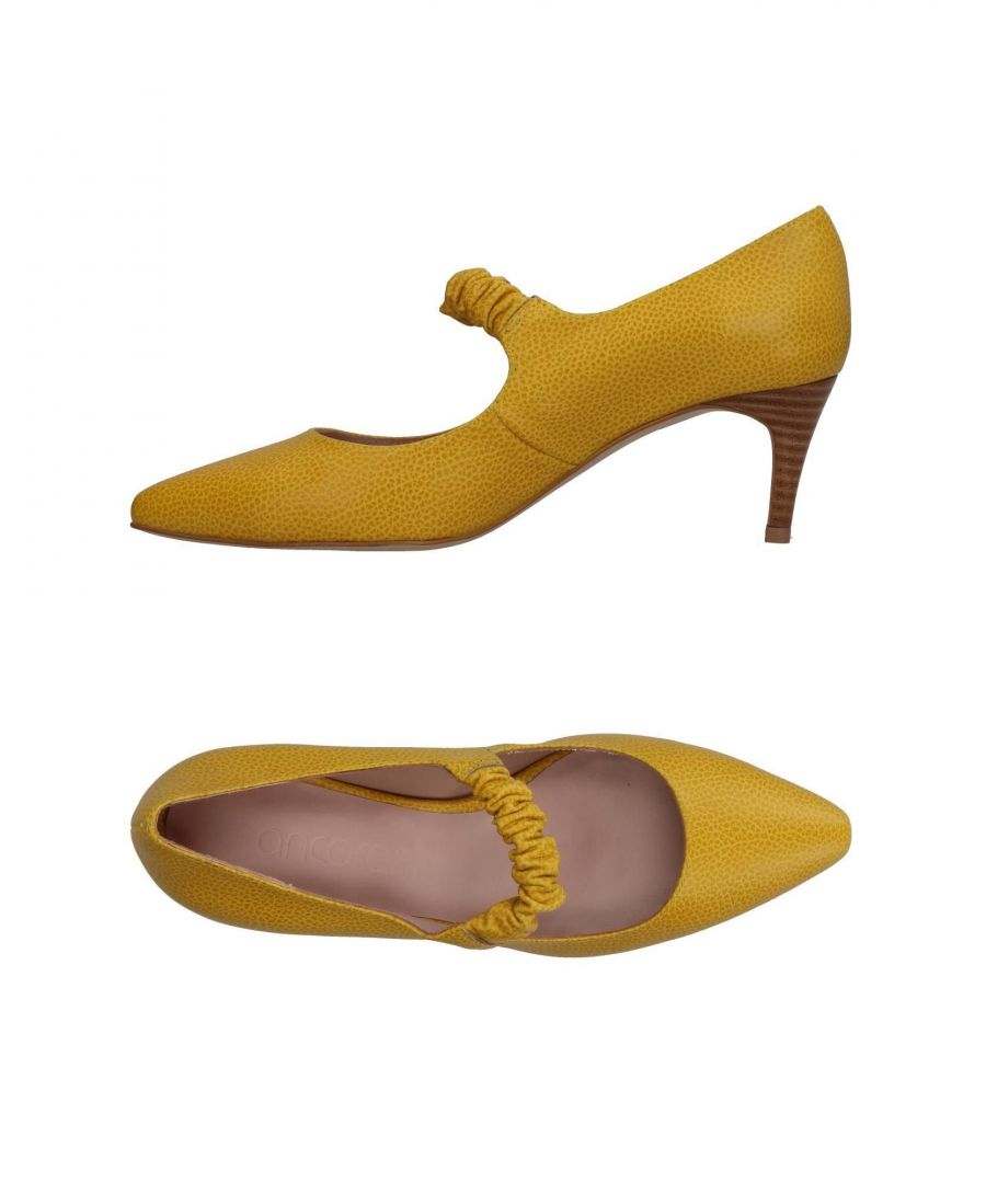 Image for Ancarani Yellow Leather Heels