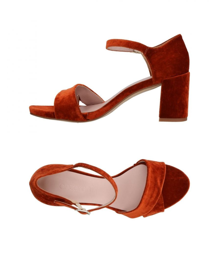 Image for Ancarani Rust Velvet Heeled Sandals