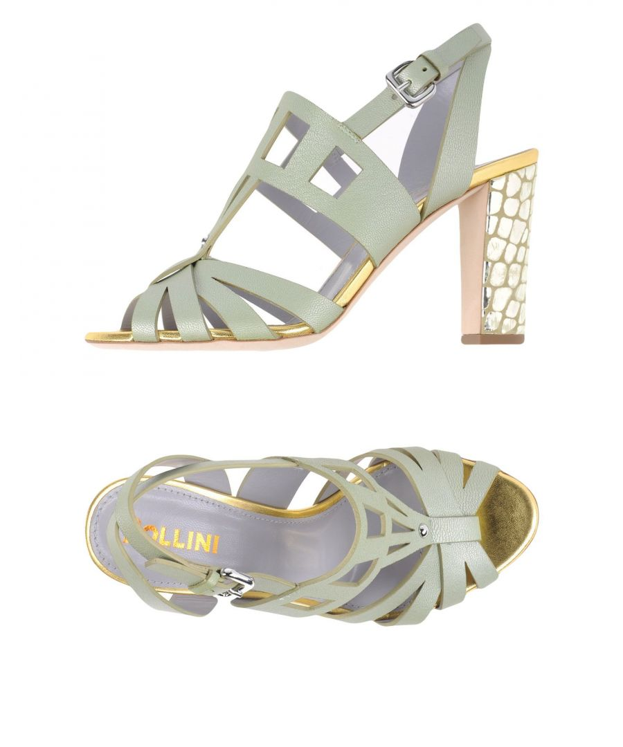Image for Pollini Light Green Leather Heeled Sandals
