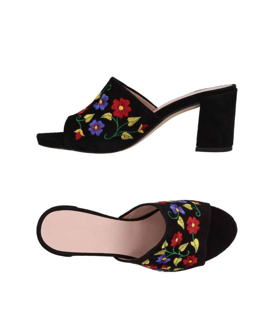 Image for Ancarani Black Leather Embroidered Mules