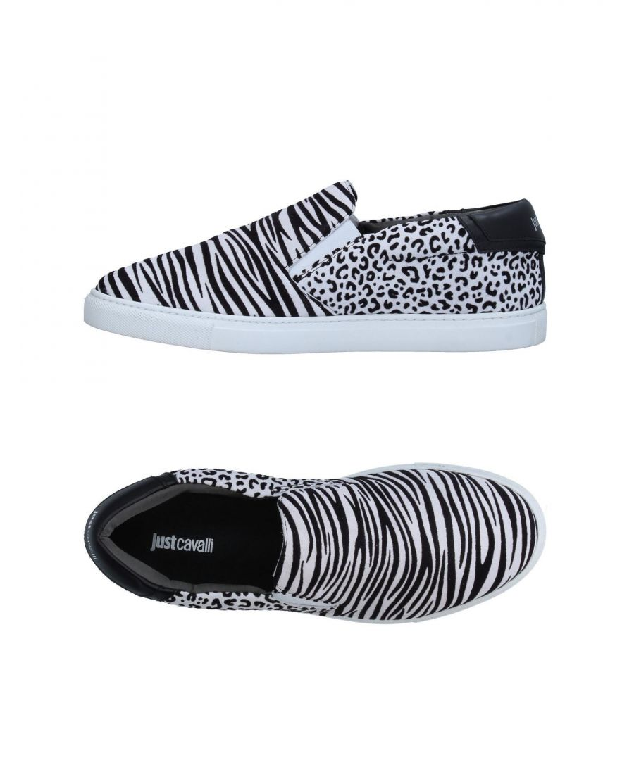 Image for Just Cavalli White Print Leather Slip Ons