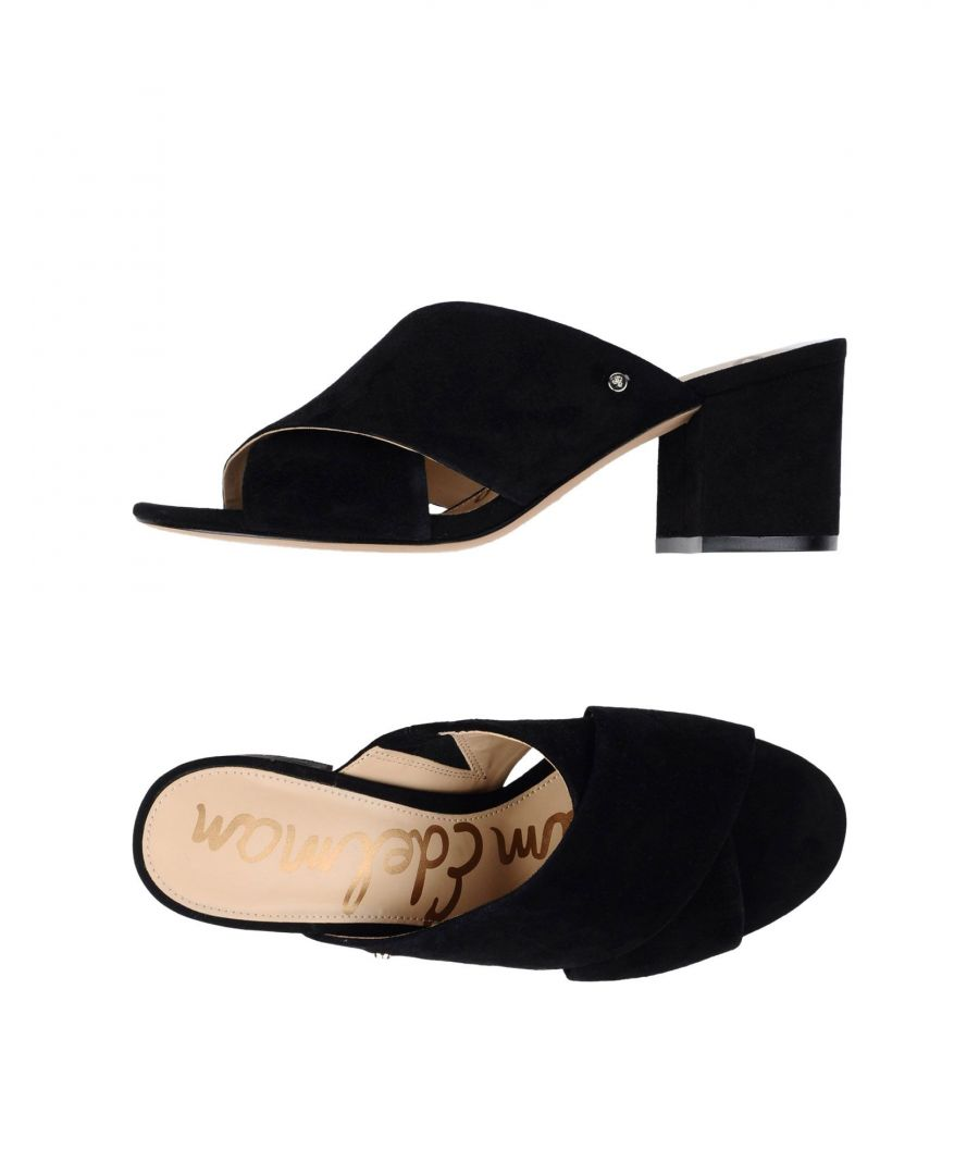 Image for Sam Edelman Black Leather Heeled Mules