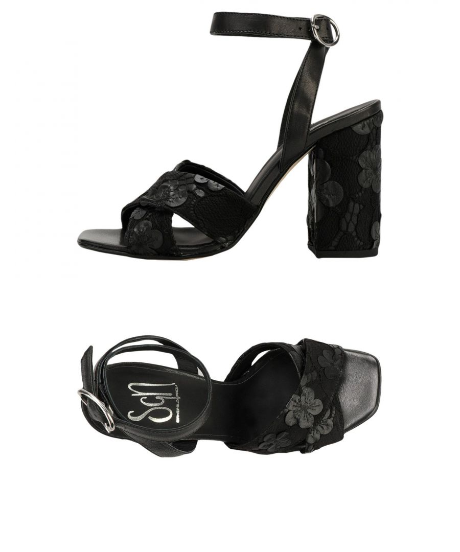 Image for Sgn Giancarlo Paoli Black Leather Heeled Sandals