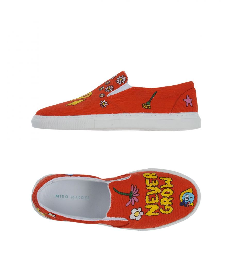 Image for Mira Mikati Red Print Canvas Slip Ons