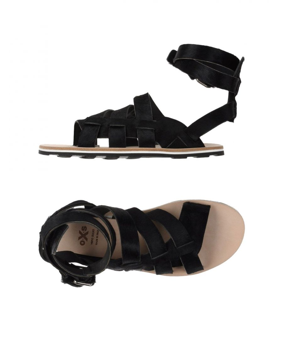 Image for O.X.S. Black Leather Sandals