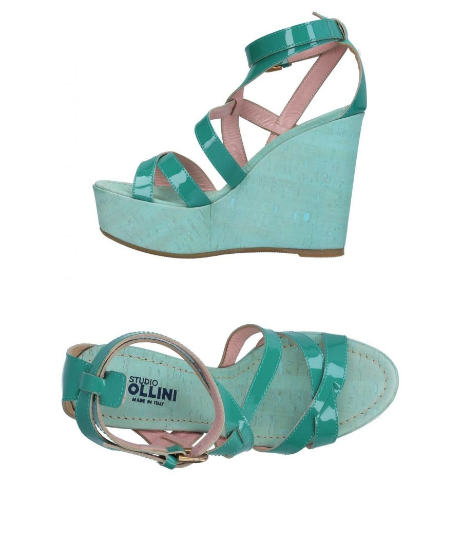 Image for Studio Pollini Green Leather Wedges