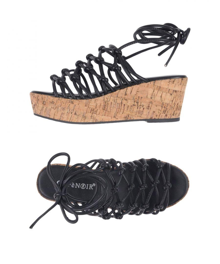Image for Cafènoir Black Strappy Flatform Sandals