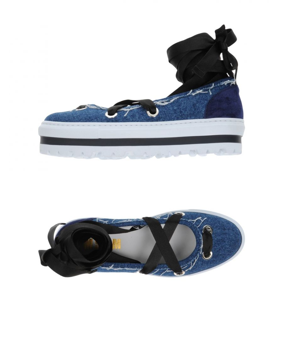 Image for MSGM Blue Denim Lace Up Flatforms