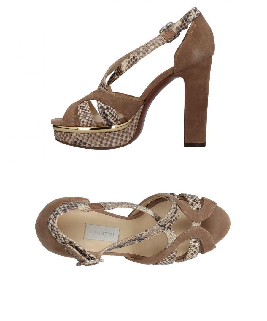 Image for L' Autre Chose Khaki Leather Snakeskin Print Heels