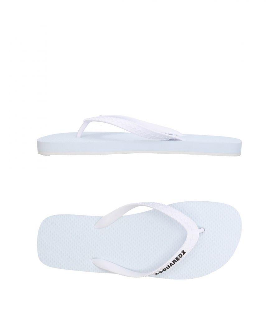 Image for Dsquared2 White Logo Rubber Flip Flops