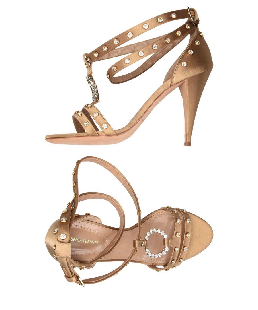 Image for Alberta Ferretti Sand Satin Embellished Heeled Sandals