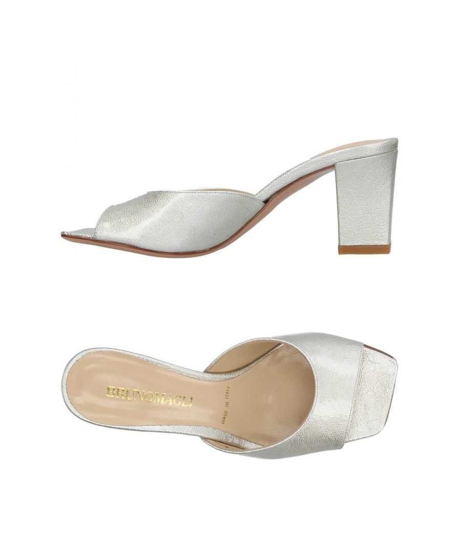 Image for Bruno Magli Platinum Leather Heeled Mules