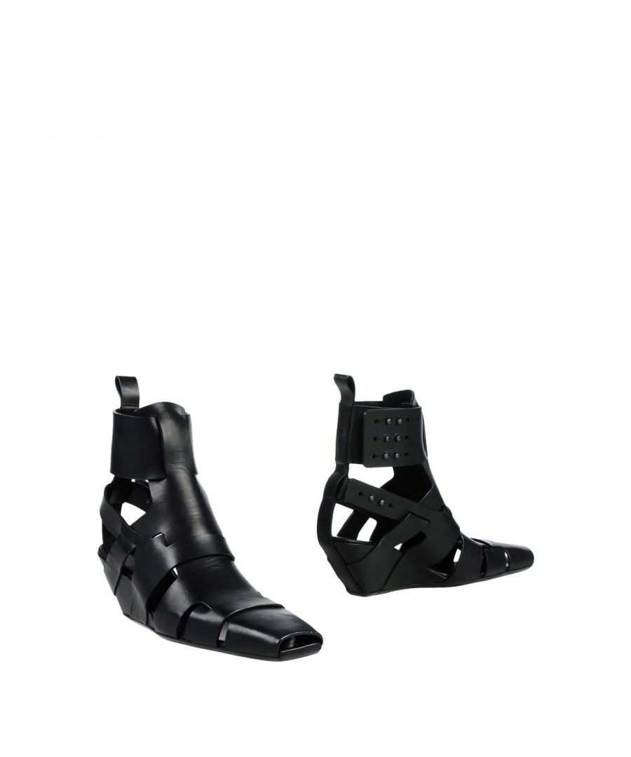 Image for Rick Owens Black Leather Wedges