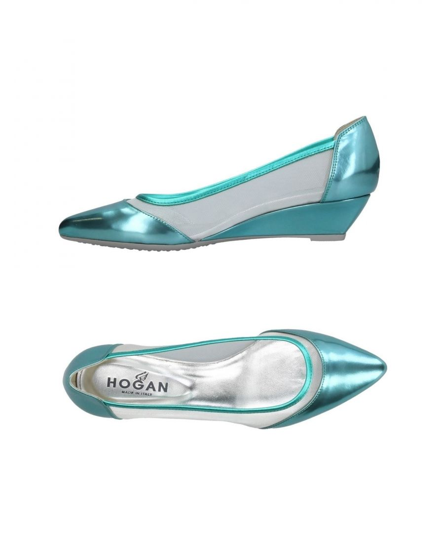 Image for Hogan Turquoise Leather And Techno Fabric Wedge Heels