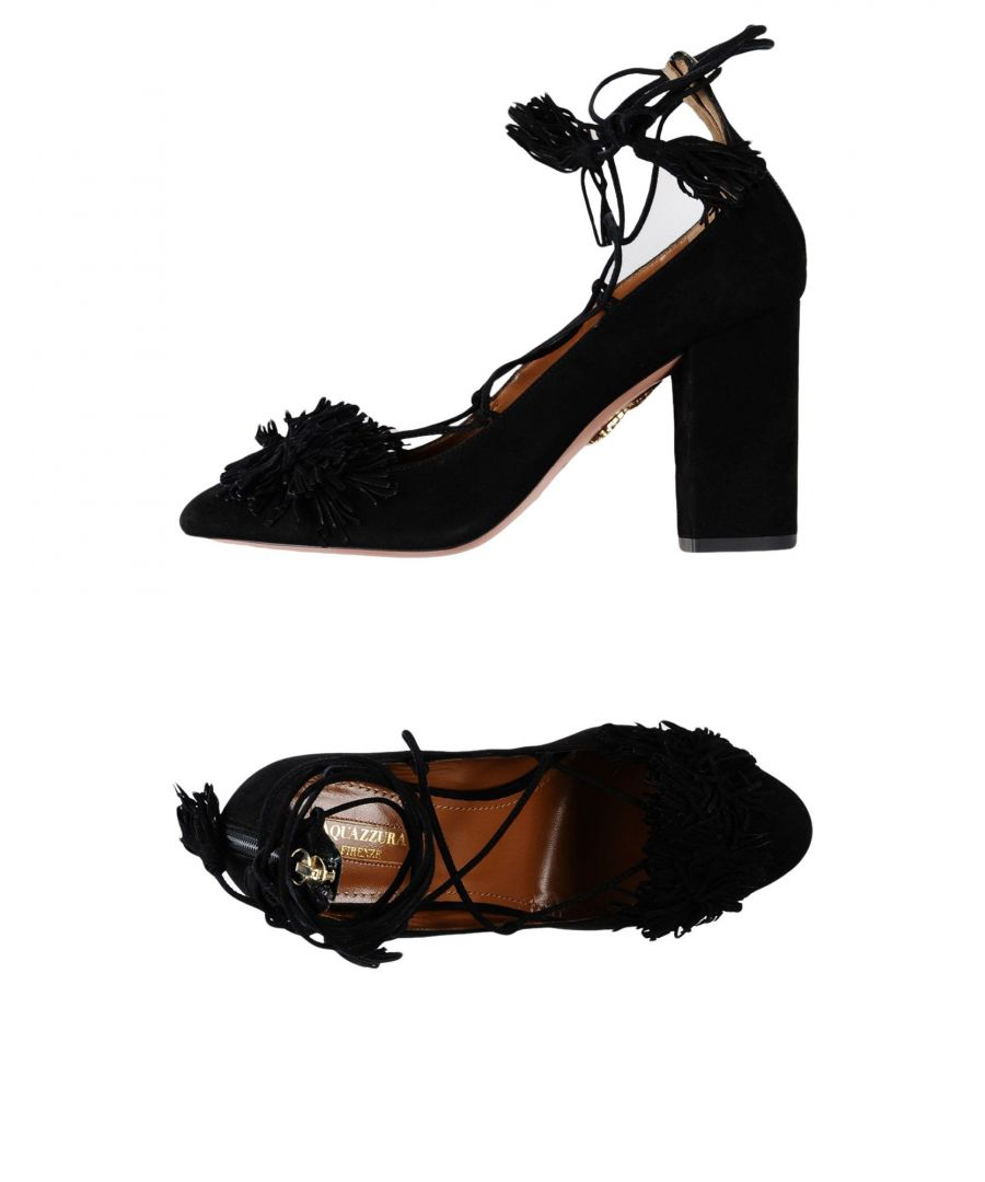 Image for Aquazzura Black Leather Heels With Tassels