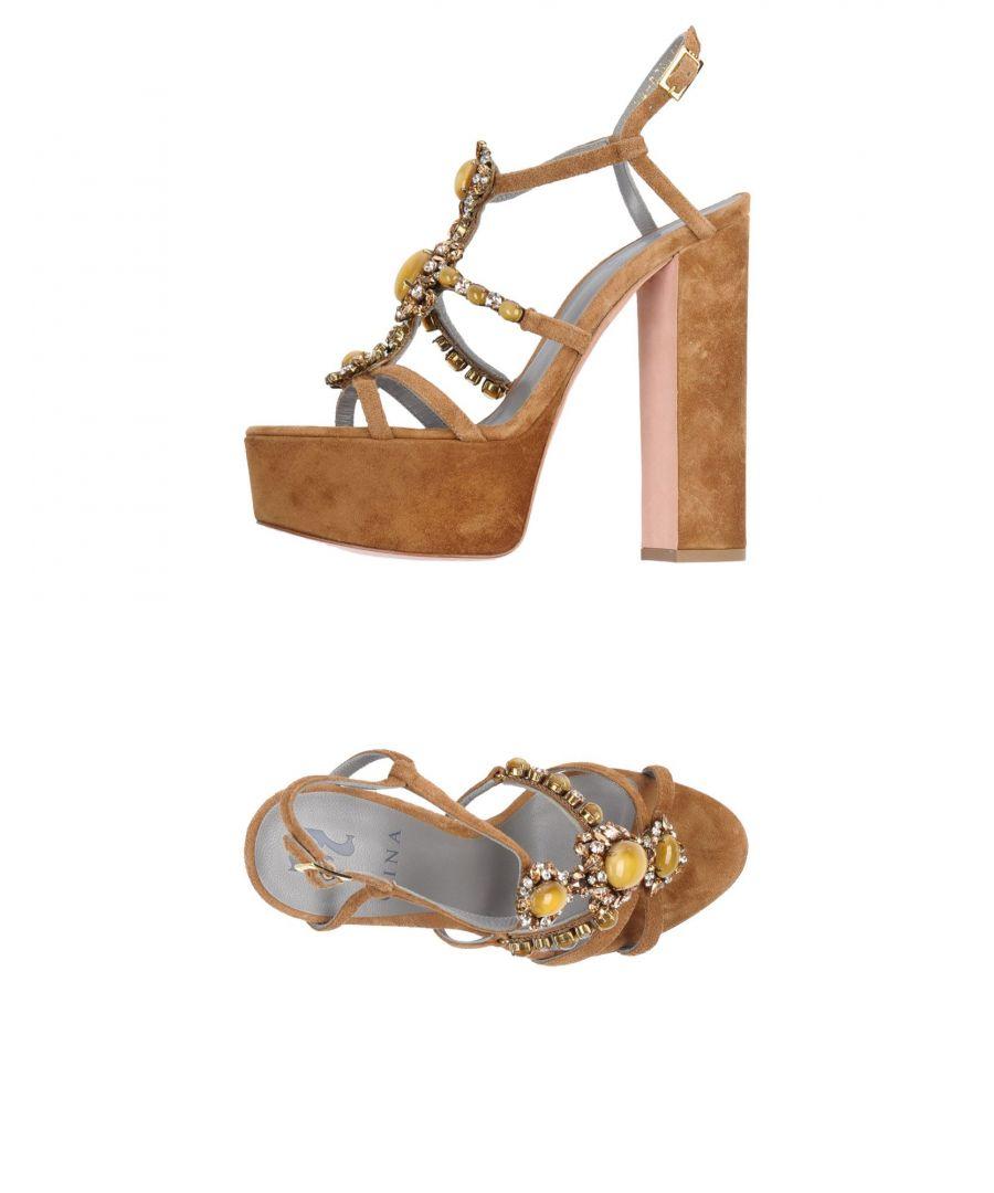 Image for Gina Camel Leather Embellished Heeled Sandals