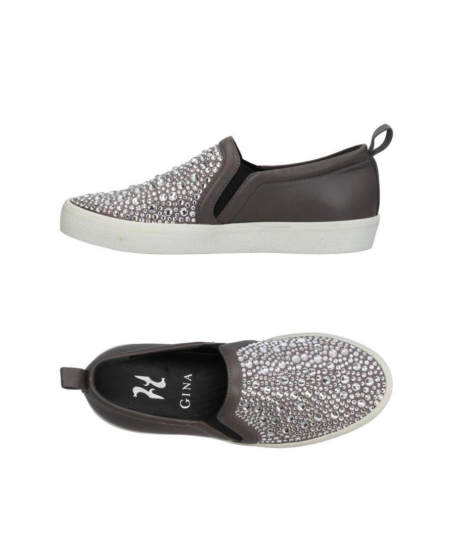 Image for Gina Grey Leather Embellished Slip Ons