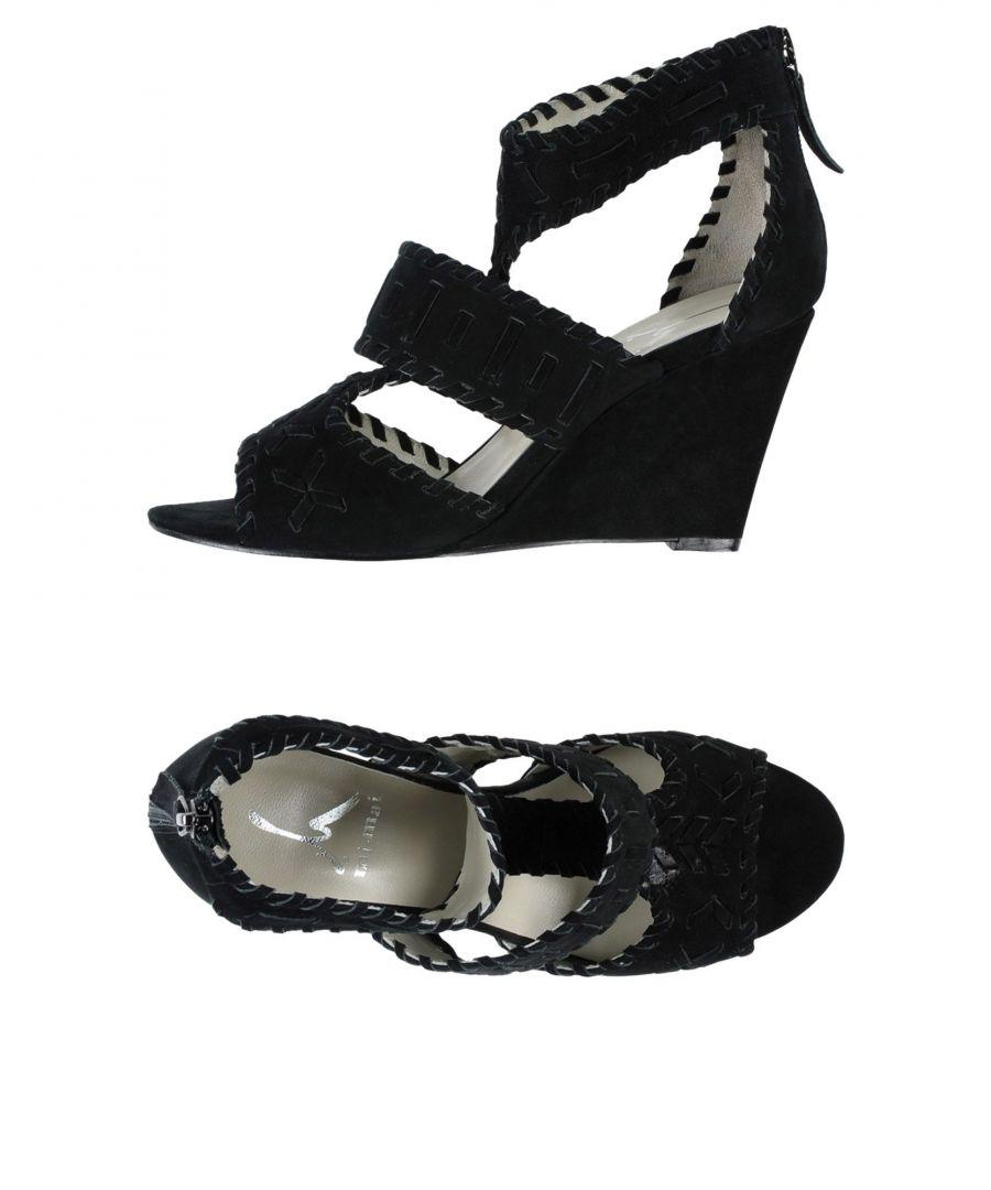 Image for Mi/Mai Black Leather Wedges